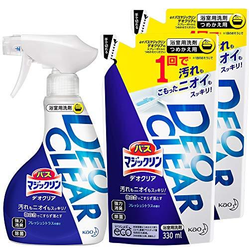 【Amazon.co.jp 限定】【まとめ買い】バスマジックリン DEOCLEAR(デオクリア) 風呂洗剤 擦らず落とす フレッシュシトラスの香り 本体 380ml+詰め替え 330ml×2個
