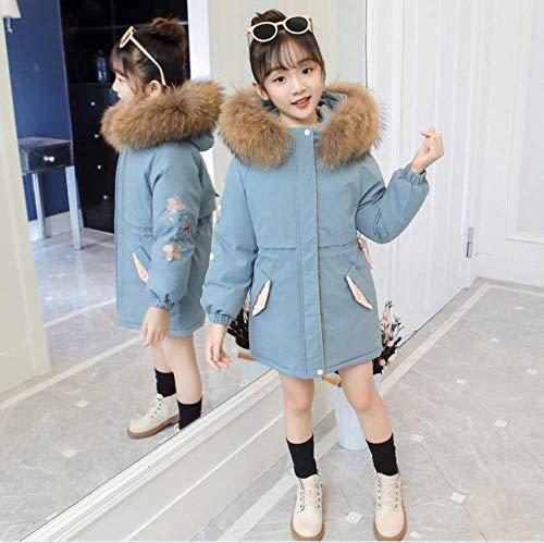 QINGNIU Wintermädchenjacken, bestickter Dicker großer Baumwollpelzkragen-Parka-Mantel der koreanischen Mode, großer Baumwollmantel der Kinder, Blau, Blau, 12