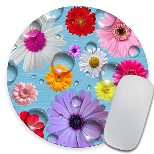 """Wkooff Round Mouse Pad,Daisy Flowers Pattern Customized Round Non-Slip Rubber Mousepad Gaming Mouse Pad 7.87""""X7.87"""" inch"""