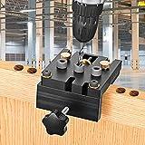 Kacsoo Kit di maschere per fori tascabili Strumento 3 in 1 per la lavorazione del legno Guida per tassello regolabile Strumento per la lavorazione del legno Punzonatura del tenone per legno rotondo