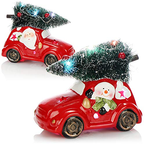 com-four 2x LED Christmas car with fir tree - Red ceramic car with LED light - Decorative car for Christmas with Santa Claus and snowman [selection varies]