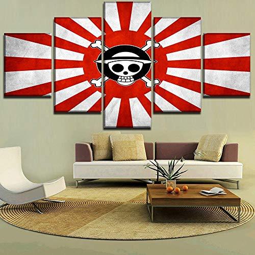 ZhuHZ Moderne Hauptdekoration Rahmenbild HD-Druck 5 Stück japanische Flagge & Anime Einteilige Leinwand Malerei Wandkunst Poster