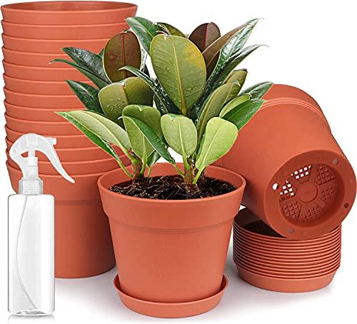 Nuyoah Vasi per Piante Plastica Vaso Plastica per Piante Vasetti per Piantine 6pz Vasi per Semina 9.5cm Addensare con Foro di Drenaggio e Vassoio per Fiori Ideale per Interno e da Esterno