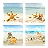 4 unids/set arte de pared lienzo de impresión moderna pinturas mar playa concha estrella de mar imágenes de pared para decoración del hogar 4Marco integrado de 40 * 40 cm