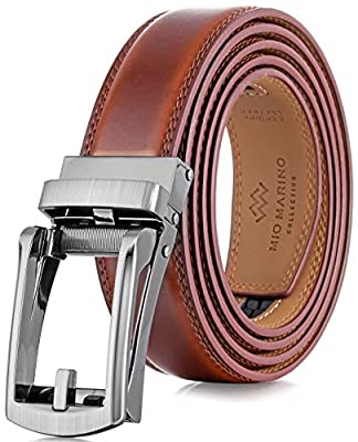 "Marino Men's Genuine Leather Ratchet Dress Belt with Open Linxx Buckle, Enclosed in an Elegant Gift Box - Burnt Umber - Style 37 - Adjustable from 38"" to 54"" Waist"