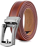 Marino Mens Genuine Leather Ratchet Dress Belt with Open Linxx Buckle - Sepia Rust - Adjustable from 28' to 44' Waist