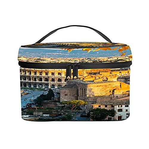 CIKYOWAY Trousse de Maquillage Portable,Vue sur Le Colisée à Rome, Italie,Portable pour Cosmétique Trousse/Organisateur/Sac de Toilette 25×18×15cm