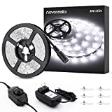 Novostella 20ft/6m Dimmable LED Light Strip Kit, 360 Units SMD 2835 LEDs, 12V LED Ribbon, Flexible Under Cabinet Lighting Strips, Non-waterproof LED Tape, UL Listed Power Supply, 6000K Daylight White