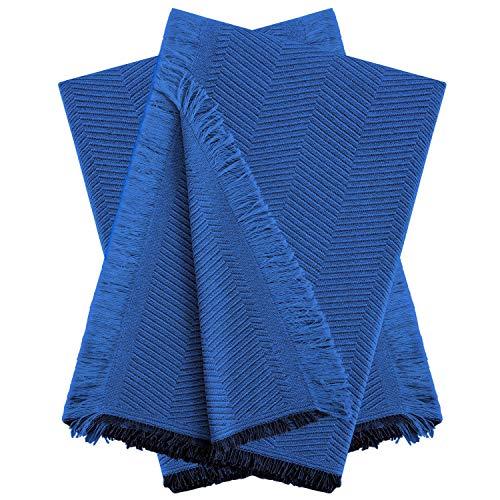 Vipalia Pack 2 Fundas para Sofa. Mantas para Cama. Cubre Sofas Chaise Longue. Colcha Cama 150 cm o Sofa Cama. Plaid Multiusos para Sofa o Cama. Modelo Elite Espiga. 230 x 260 cm. Color Azul