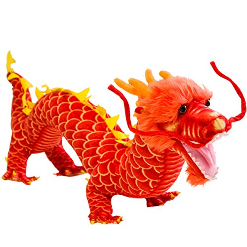 Chinese Dragon Lifelike Big Plush Toy Pillow, 31.5 Inch Long Realistic Dragon Lion Stuffed Animals - for Play or Decor New Year/Xmas/ Birthday and Any Time of Year(Yellow/Orange)
