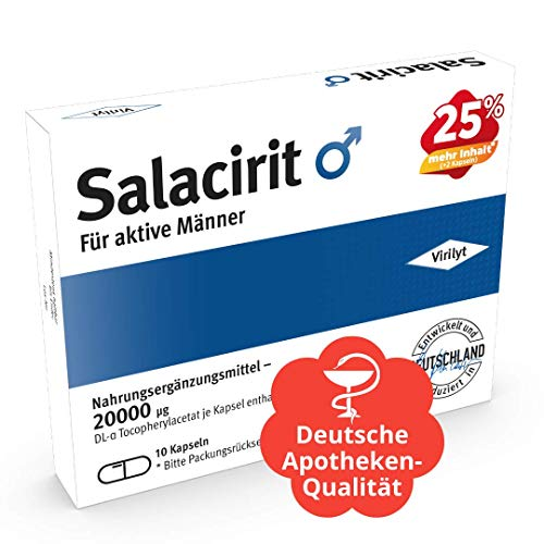 VIRILYT Salacirit 10 Kapseln hochdosiert für aktive Männer I Markenprodukt - Entwickelt & Hergestellt in Deutschland I Natürliche Inhaltsstoffe mit Maca L-Arginin & Zink