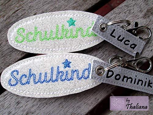 SCHULKIND mit NAMEN personalisierbarer Schlüsselanhänger/Taschenanhänger für Schulranzen Schultüte/Geschenk zur Einschulung