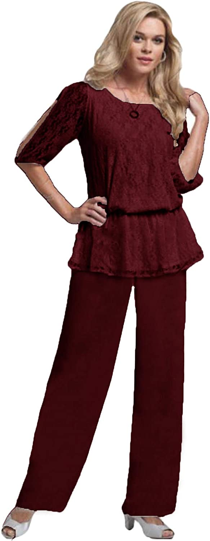 Xixi House Women's 2021 Chiffon Two Piece Mother of The Bride Dresses Pants Suit Lace Trousers Set for Wedding