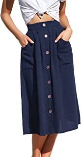Naggoo Womens Casual Front Button A-Line Skirts High Waisted Midi Skirt with Pockets