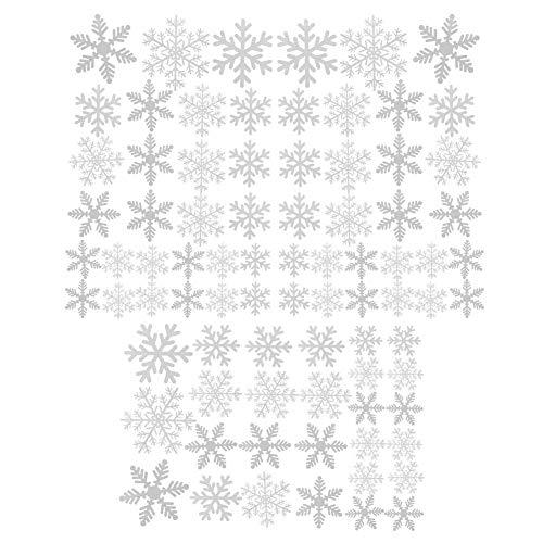 Pegatinas estáticas de PVC para ventanas de Navidad, 81 piezas, para decoración de Navidad, color blanco, 3 hojas