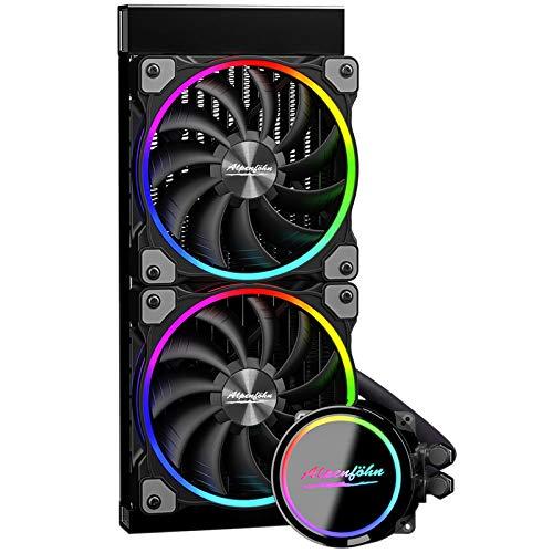 Alpenföhn - Gletscherwasser AiO 240 High Speed RGB 2x Lüfter 120mm PWM Wasserkühlung PC hat ein Maximum von 2200rpm CPU Wasserkühlung mit hoher Leistung PC Kühlung Water Cooling