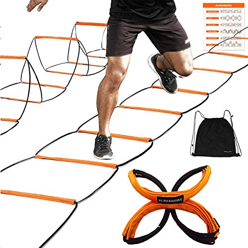 ALPHAWORX All-in-one Agility Ladder Speed Training Equipment and Speed Hurdle, Workout Ladder and Basketball Soccer Agility Ladder, Foldable Instant Set-up and Tangle-Free (8/4/8+4/12 Rung/8+4 Suit)