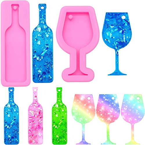 2 Pieces Silicone Wine Bottle Shape Pendant Keychain and Mini Wine Glass Goblet Cup Keychain Silicone Mold with Hole for DIY Baking Crafting Cake Topper Decoration, Pink