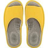 BIKINIV Reflexology & Acupressure Massage Slippers Sandals for Men & Women Home Shoes Shock Absorbing, Cushion Comfort & Arch Support for Better Health Heel (8.5-9 Women/7.5-8 Men, Yellow)