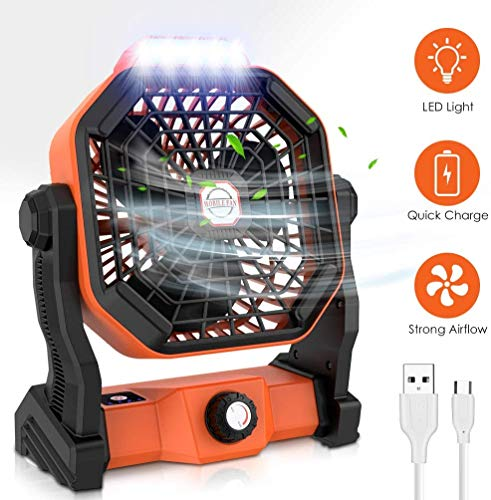 RUNACC Camping Fan LED Lantern Portable 5000mAh Battery Operated Fan for Desk, Quiet and Powerful USB Rechargeble Tent Fan for Outdoor Camping, Home, Office