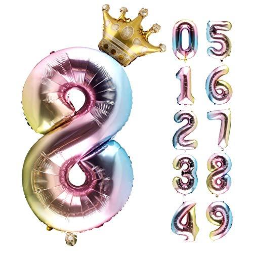Foil Globo Número, Globos de Cumpleãnos,Gigante Numeros 0 1 2 3 4 5 6 7 8 9 Grande Globos para La Boda Aniversario, Globo de Cumpleaños Fiesta Decoración (8)
