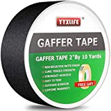 Premium Grade Gaffers Tape, Heavy Duty Non-Reflective Matte No Residue Gaff Main Stage Tape,Electrical Tape,Duct Tape for Photographers,Waterproof Gaffer Tape,2 Inch X 10 Yards, Black