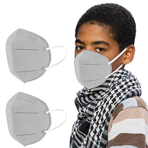 GYZF Protección infantil 3D De_𝙈𝙖𝙨𝙘𝙖𝙧𝙞𝙡𝙡𝙖𝙨_Desechable con Estampado Color sólido 10/20/25/50/100PC, 5 capas Para_Protector_Bucal (gris ) (20)