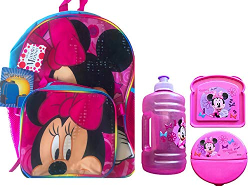 Minnie Mouse Rugzak met Lunch Box Bevestiging Inclusief Lunch Essentials Waterfles, Sandwich en Snack Container Minnie Mouse Jug Bottle