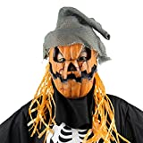 LUOEM Espeluznante Novedad Fiesta de Disfraces de Halloween Accesorios de Calabaza de látex espantapájaros Cabeza máscara con Sombrero (Naranja)