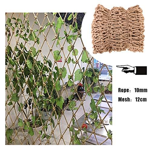 Hwt's net Garden Mesh Netting,Trellis Netting for Climbing Plants,Natural Jute Material Hand-woven,for Stairs Garden,12mm/10cm,Multiple Sizes (Size : 1x2m)