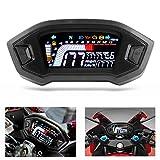 Tachimetro per Moto Contagiri LCD Contachilometri Digitale Retroilluminazione Indicatore di Velocità Impermeabile per 1 2 4 Cilindri Moto
