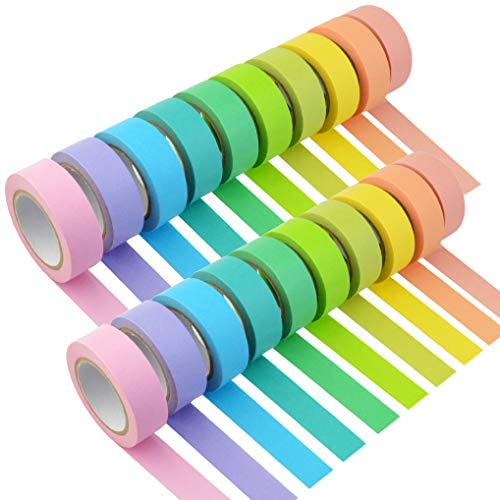 Yookat 20 Rolls Colored Masking Tapes Rainbow Color Craft Paper Tape Colorful Teacher Tape Decorative Masking Tapes 0.6 inch Width for DIY Crafting School Office Art Decorating