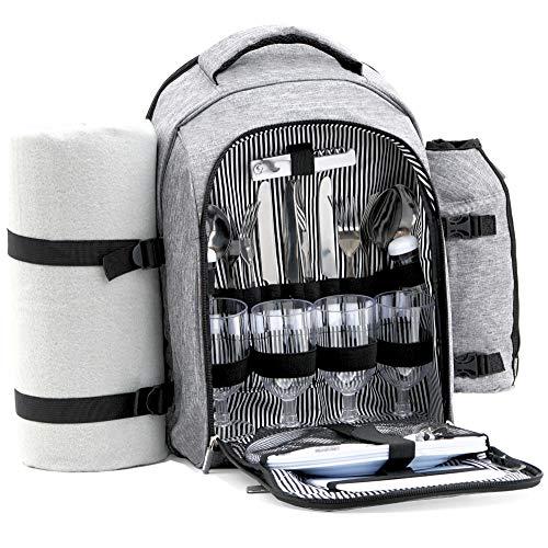 CampFeuer Zaino da Picnic da 32 pezzi | set da picnic per 4 persone | grigio | con supporto per bottiglie, coperta da picnic, scomparto termico, stovi
