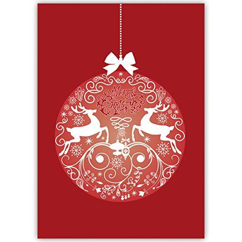 Klassieke bedrijven kerstkaarten met hert kerstbal, rood, met hun binnentekst laten printen, in 4-, 20-delige set kerstkaarten als zakelijke kerstgroeten/felicitaties voor Nieuwjaar/kerstkaart aan bedrijfsklanten, zakenpartners, medewerkers 20 Weihnachtkarten Blanco binnen.