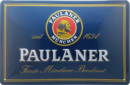Paulaner, hochwertig geprägtes Retro Blechschild, 30 x 20 cm, Bier, Biergarten, Brauerei Metallschild