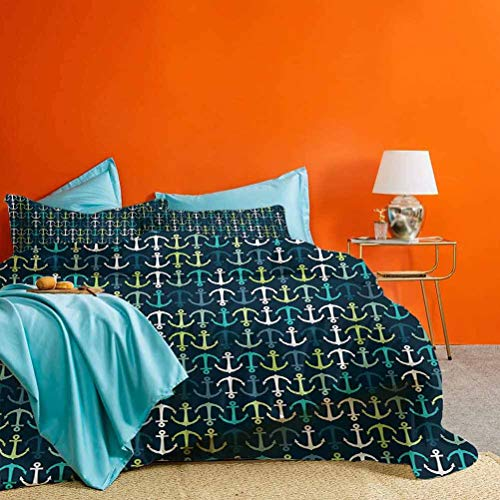 Anchor 3 Piece Duvet Cover Aquatic Maritime Pattern with Up and Down Anchors Sailing Travel Vacation Best Material/Highly Durable Dark Blue Green White – 1 Duvet Cover & 2 Pillow Shams King Size