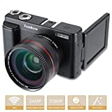 Camara Fotos Digital Full HD 1080P,FamBrow WiFi 24MP Camara de Video Digital Zoom 16x,Gran Angular Lente Rotación de 3.0 Pulgadas, Camara de Foto Anti-vibración