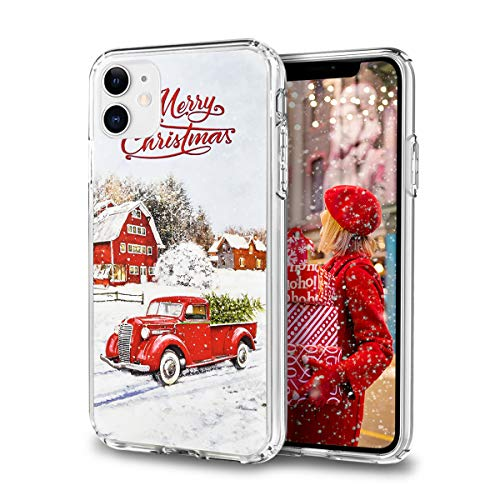 Newseego Compatible with iPhone 11 Christmas Case, Shockproof Series Anti-Yellow Hard PC + TPU Bumper Protective Cover for Girls Children Cute Merry Christmas Red Car Design