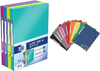 Oxford Lot de 4 Boîtes de Classement Dos 25mm en Carte Pelliculée Lavable 4 Couleurs & Topfile+ Lot de 10 Chemises Cartonn...
