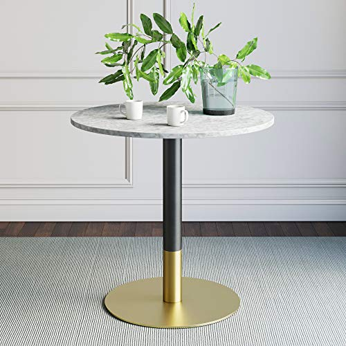 Nathan James Lucy Small Mid-Century Modern Kitchen or Dining Table with Faux Carrara Marble Top and Brushed Metal Pedestal Base, Black/Gold