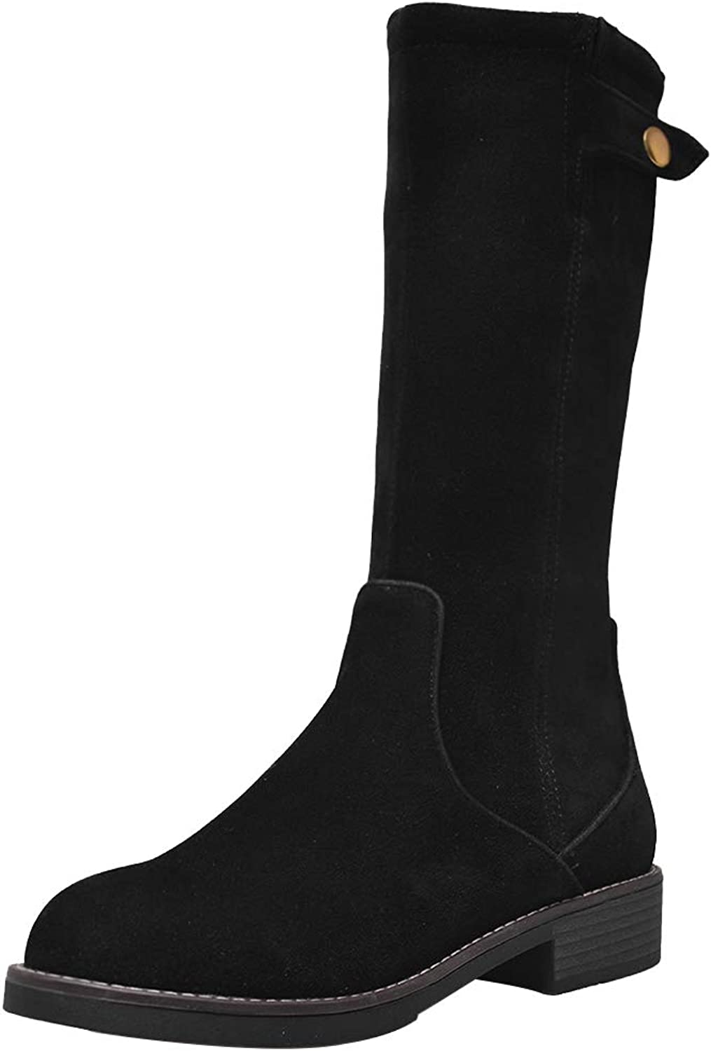 AicciAizzi Women High Top Boots Zipper Booties Puppy Heel