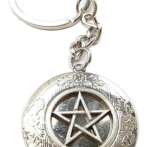 chaosong shop Antike Silber Pentagramm Medaillon Schlüsselanhänger, heidnisches Symbol, Wicca, Wicca Schmuck, Schutzamulett
