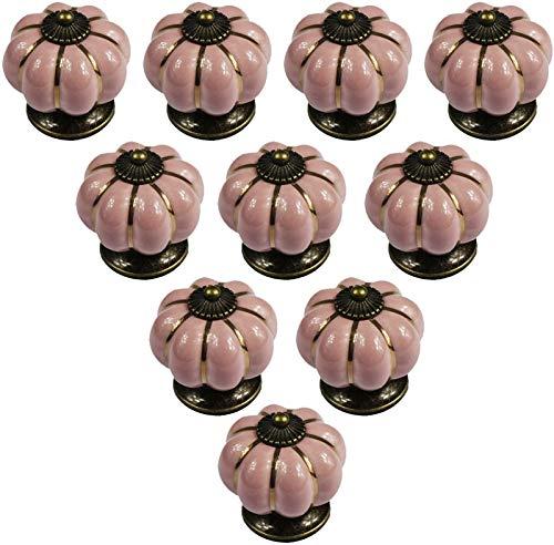 AngYou 10 PCS Toma de cerámica de Calabaza Europea, gabinetes de Cocina de Color Retro, armarios de Vestuario de Dormitorio, cajones, cómoda Cajonera Asas (Size : Pink)
