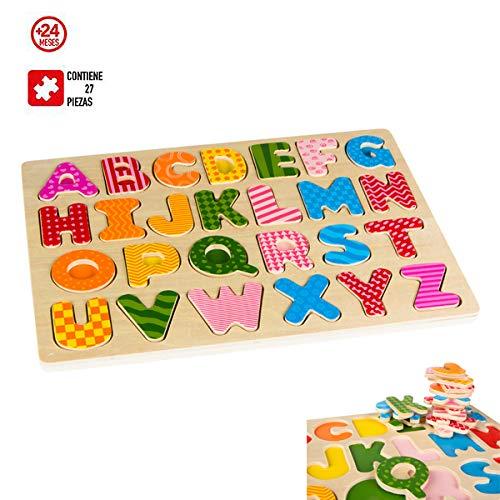 DISOK Puzzle Infantil de Madera 30X23 CM- Letras Abecedario 27 Pcs +24Meses - Puzzles Madera para Niños, Juegos Habilidad, Educativos