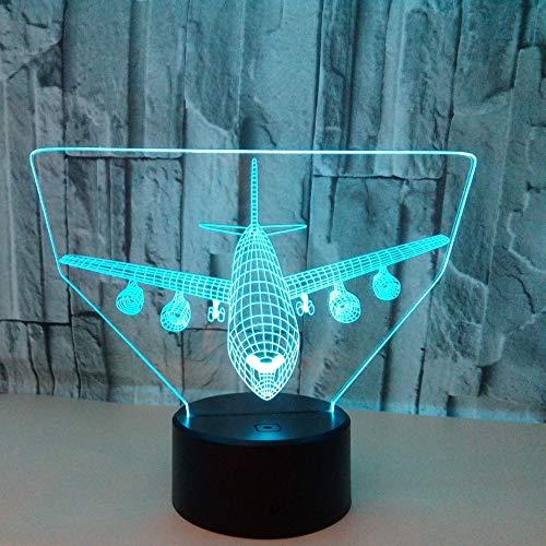 Scra AC Avión LED Colorido Degradado 3D Estéreo Lámpara De Mesa Táctil Control Remoto USB Luz De Noche Escritorio Mesita De Noche Decoración Creativa Adornos De Regalo