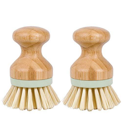 Limeow Cepillos de bambú para fregar platos Cepillo de limpieza para cuenco de vajilla Vajilla cepillo de limpieza en bambú Cepillos de Bambú Platos Fregadero para Manchas en Platos ollas 2 pcs (B)