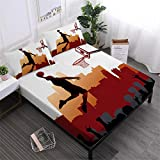 Oliven Sheets Queen Size,3D Bedding Cool Basketball Bedding Set 4 Pcs,NBA Basketball Bed Sheets Set