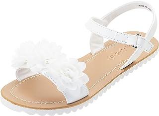 Vonair Girls White Strappy Summer Sandals Open-Toe Fashion Cute Dress Sandals for Little Big Kids
