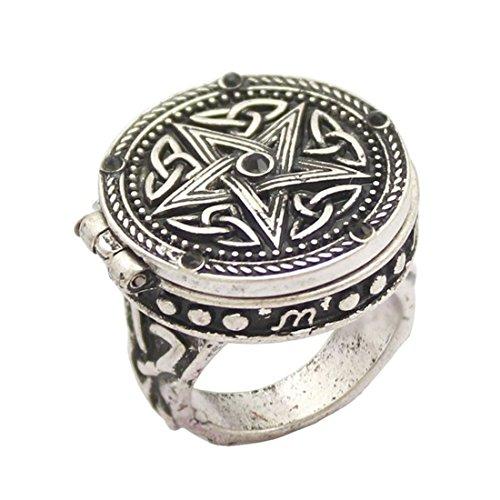 Anillo retro vintage de plata con forma de estrella de pentagrama con caja gótica