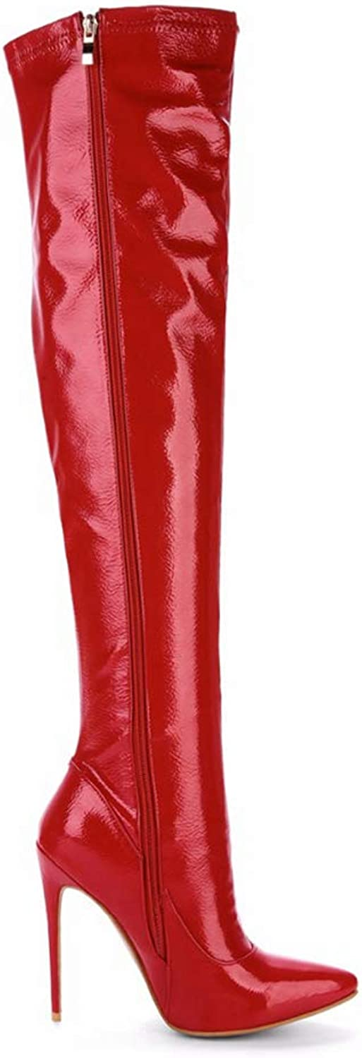 Winter Boots Over The Knee Boots Pointed Toe Thin High Heel Sexy Thigh High Slim Plus Size Boots Women